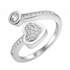 Серебряное кольцо с разомкнутой шинкой с фианитами 000112714
