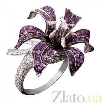 Кольцо из белого золота с белым и фиолетовым цирконием Нилуфер VLT--ТТ1088