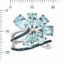 Серебряное кольцо Ингрид с топазами и голубыми фианитами