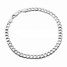 Серебряный браслет Эдвин с родием, 5 мм