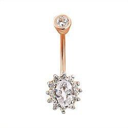 Золотой пирсинг в комбинированном  цвете с фианитами 000133291