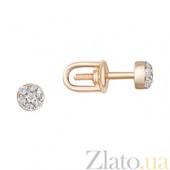 Золотые пуссеты Лидия с бриллиантами  000031207