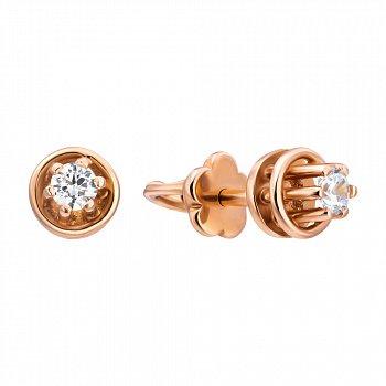 Золотые серьги-пуссеты с белыми кристаллами циркония 000096729