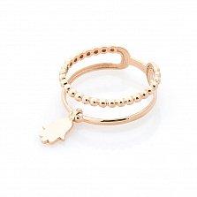 Золотое кольцо Защитник с подвеской-хамсой и двойной шинкой в виде полусфер