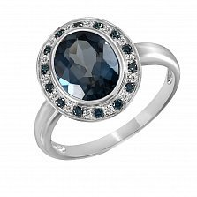 Кольцо из белого золота Нинон с топазом и бриллиантами