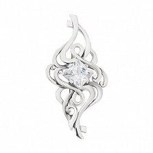 Серебряная брошь Воздушный поток с фианитом огранки принцесса