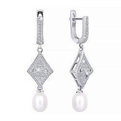Серебряные серьги с жемчугом и фианитами 000047461