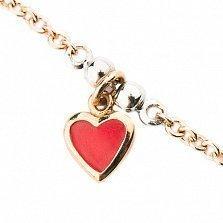Детский золотой браслет с цветной эмалью Сердечки