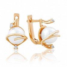 Золотые серьги с жемчугом и фианитами Лорентина