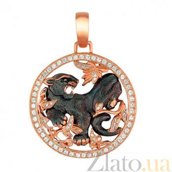 Золотой кулон Пантера Багира в красном и черном цвете с фианитами VLT--Т377-2