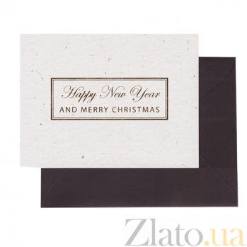Мини-открытка из итальянского картона Happy New Year с золотым тиснением в черном конверте 000061421