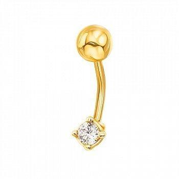 Золотая сережка-пирсинг Эльза в желтом цвете с фианитом 000130434