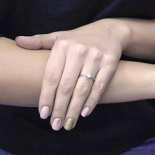 Золотое наборное кольцо Трансформация в белом цвете с дорожками фианитов