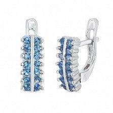 Серебряные сережки с голубым цирконием Авива