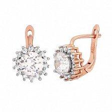 Позолоченные серебряные сережки с цирконием Джаухар
