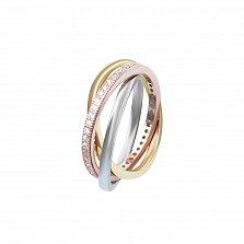 Серебряное тройное кольцо Кантилена с фианитами и позолотой
