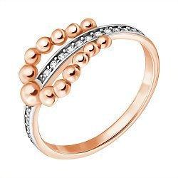 Кольцо из красного золота с фианитами 000064496
