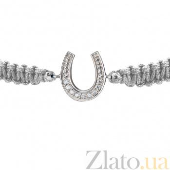 Детский плетеный браслет с серебряной вставкой и фианитами Подкова на удачу, 10-10см 000080636