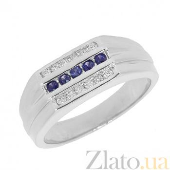 Серебряное кольцо Эванжелин с бриллиантами и сапфирами 000030742