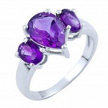 Серебряное кольцо Луизина с аметистами
