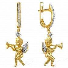 Серьги из желтого золота с топазами и бриллиантами Ангелочки