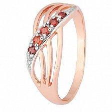 Серебряное кольцо с красным цирконием Сояла