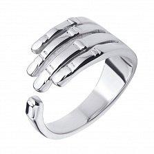 Родированное кольцо Рука из серебра с разомкнутой шинкой