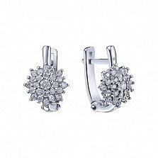 Серебряные серьги Белоснежные пионы с кристаллами циркония и родием