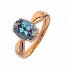 Золотое кольцо с александритом и фианитами Небесная синева
