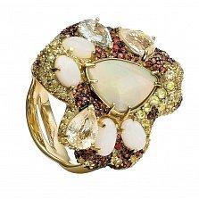 Золотое кольцо Шелоб с опалами, цветными сапфирами и хризолитами