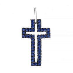 Серебряный крестик Руфина с темно-синими фианитами 000034037
