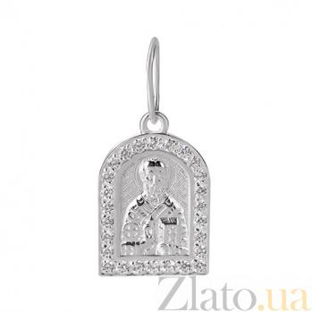 Ладанка из серебра с фианитами Николай Чудотворец 000010480