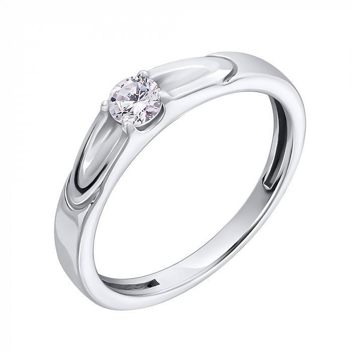 Серебряное кольцо Выбор с белым фианитом и частично вогнутой шинкой 000079065
