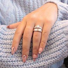 Серебряное кольцо Миледи с двойной шинкой и белыми фианитами