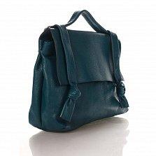 Кожаная деловая сумка Genuine Leather 6201 синего цвета на молнии с клапаном на магнитной кнопке
