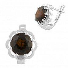 Серебряные серьги Мальва с гранатом