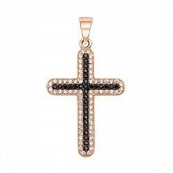 Декоративный крестик в комбинированном цвете с черными и белыми фианитами 000133532