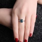 Золотое кольцо Княгиня Ольга с лондон топазом и голубыми бриллиантами