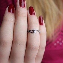 Серебряное кольцо чернёное на фалангу Астарта