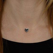 Колье на леске Романтика с серебряным сердцем, замком и дополнительными звеньями (+85мм)