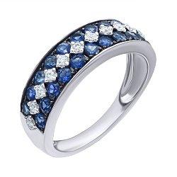 Золотое кольцо в комбинированном цвете с сапфирами и бриллиантами 000139413