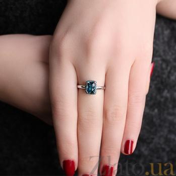 Золотое кольцо Княгиня Ольга с лондон топазом и голубыми бриллиантами SVA--1190916202/Топаз лондон