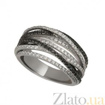 Золотое кольцо Наоми с белыми и черными фианитами VLT--ТТТ1241
