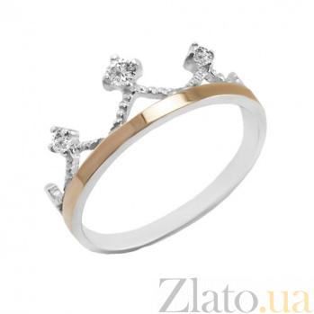 Серебряное кольцо с золотой вставкой и фианитами Арвен BGS--829/1