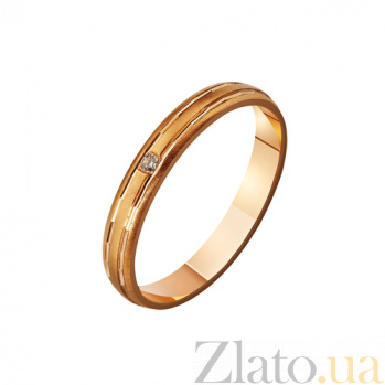 Золотое обручальное кольцо с фианитом  Romance love TRF--4121221