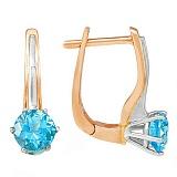 Золотые серьги Делия с голубыми топазами