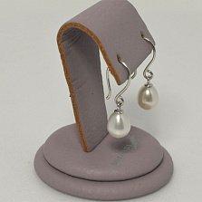 Серебряные серьги-подвески Октавия с вытянутыми жемчужинами