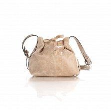 Кожаный клатч-мешок Genuine Leather 1678 цвета бархатный серо-бежевый с плечевым ремнем