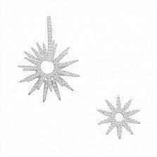 Асимметричные серебряные серьги-трансформеры Солнечный блеск с фианитами