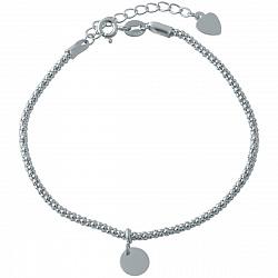 Серебряный браслет Доминанта в фантазийном плетении и подвеской в форме круга